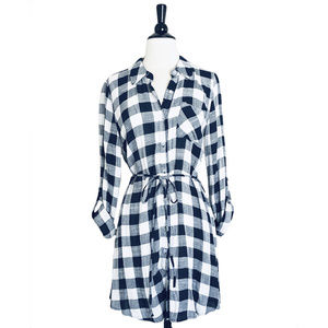 NWT Blue & White Gingham Shirt Dress, M